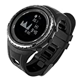 Reloj digital deportivo para corbata de deportes al aire libre, reloj inteligente de pesca, resistente al agua con termómetro de fase lunar, podómetro, brújula, altímetro, barómetro, cronómetro, negro