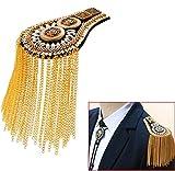 Tassel Chain Epaulet Shoulder Boards Badge Blazer Shoulder Epaulets Metal Beads Punk Fringe (Gold)