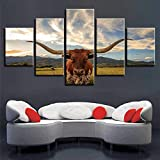 EIGYU murales 5 partesPaisaje de Animales de vacalos Carteles modernoartística Imagen gráficadormitorios Modernos decoración-No Frame-110x60Cm