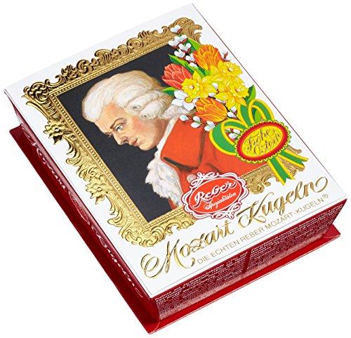 Reber Mozart-Barock, Echte Reber Mozart-Kugeln, Oster-Edition, Pralinen aus Zartbitter-Schokolade, Marzipan, Nougat, Tolles Geschenk, 4 x 6er-Packungen