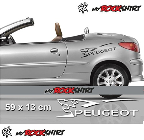Peugeot+ Löwe 2 Stück Set Aufkleber Autoaufkleber Auto Tuning Sticker Aufkleber mit Montage Set inkl.