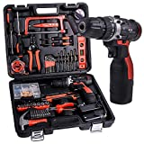 Cordless Hammer Drill Tool Kit SUPSOO 60Pcs Household Power Tools Drill Set with 16.8V Lithium Cordless Drill Driver Claw Hammer Wrenches Pliers