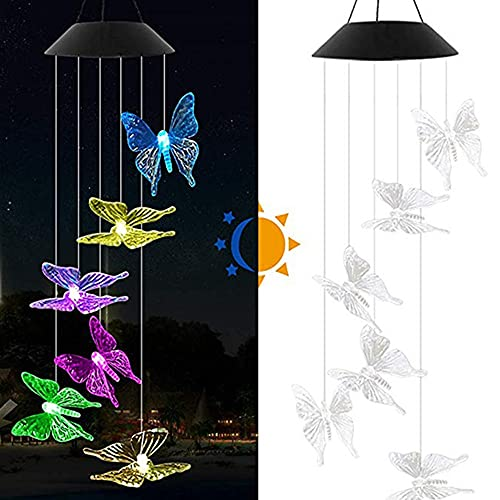 Luces de cadena solar al aire libre Decoración de jardín Carillones de viento Luces impermeables Lámpara solar de cristal Bola de cristal Mariposa Colgando Windchime Noche Lámparas fáciles de usar 4.2