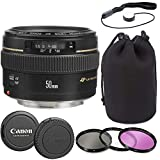 Canon EF 50mm f/1.4 USM Lens with Lens Pouch, Commander Optics 3 Piece Filter Kit, Cap Keeper