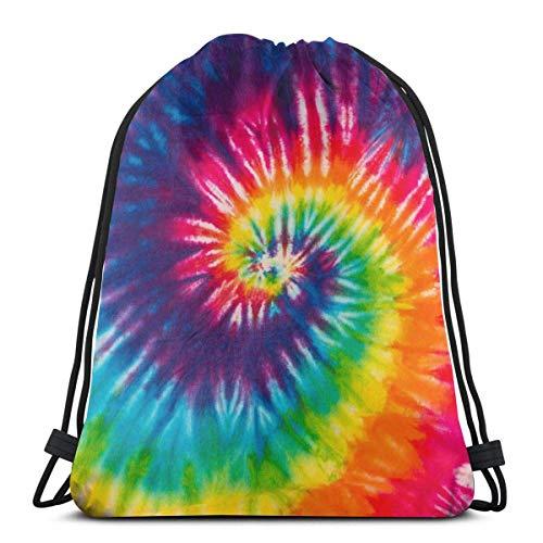 Hokdny Turnbeutel,42×36cm Hochleistungs-Gym Sack Bag Sport Drawstring Rucksack Tasche für Gym Shopping Sport Yoga (Abstrakter Wirbel-Krawatten-Farbstoff)