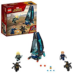 Build the Dropship featuring an opening dual minifigure cockpit with the Infinity Stone element, foldout sides and two stud shooters This super hero toy includes four Infinity War action figures: Captain America with Wakandan shields, Black Widow wit...