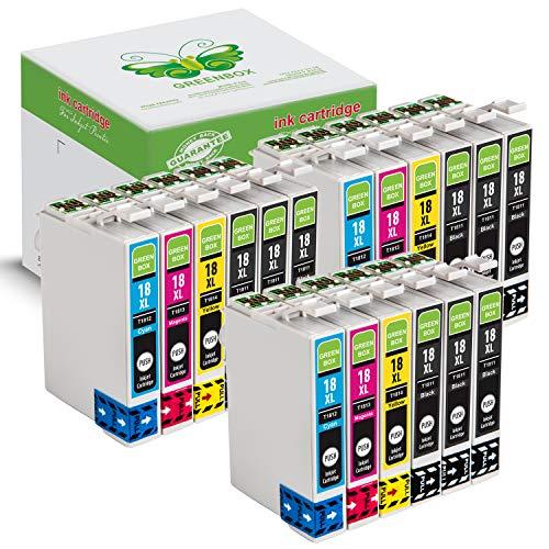 18 Packung GREENBOX Kompatibel Druckerpatronen Tintenpatronen Ersatz Kompatibel EPSON 18XL Kompatibel mit Epson Expression Home XP-30 XP-33 XP-102 (9 x Schwarz, 3 x Cyan, 3 x Magenta, 3 x Gelb)