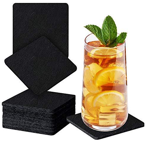 Sidorenko Sottobicchieri in feltro quadrati per bicchieri - Set di 10 - Sottobicchieri di vetro di design in nero per bevande, tazze, bar, vetro - Sottobicchieri da tavolo