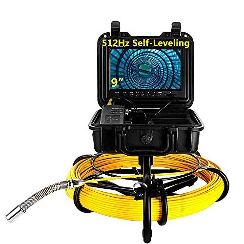 Eyoyo 100M Monitor 9 12 LED IP68 Impermeabile DVR16BG Telecamera Autolivellante da 23 Mm, Sonda 512Hz per Endoscopio Tubo Telecamera per Ispezione di Scarico