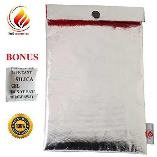 """11"""" x 7"""" Fireproof Bag for Cash, Passports, Document, Jewelry, Photos, Money, Valuables – No Itchy Fiberglass , Fire Resistant Storage/Bags, Waterproof Safe Pouch - BONUS Silica Gel Packet"""