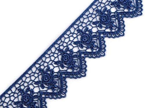 1m ÄtzSpitze Spachtelspitze Spitzen-Borte Rosen Blumen Guipure Zierband Vintage Shabby 45mm breit Farbe: blau 726