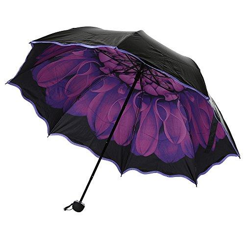 SoundJA Regenschirm, Regenschirm aus Schwarzem Kunststoff Sonnenschirm Faltbarer Winddichter Regenschirm UV-Schutz (Violett)