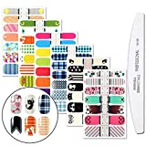 WOKOTO 6 Pieces Cartoon Nail Art Polish Sticker Tips with 1Pc Nail File Cat Adhesive Nail Wraps Decal Strips Manicure Kits