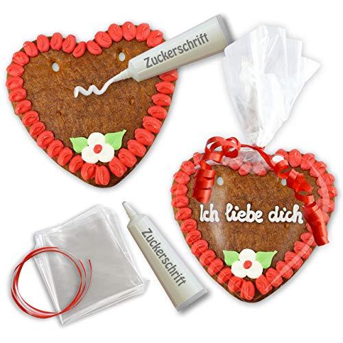 Lebkuchenherzen selber Beschriften mit Zuckerguss-Tube - Rohlinge Set - 15cm - Randfarbe: Rot von LEBKUCHEN WELT