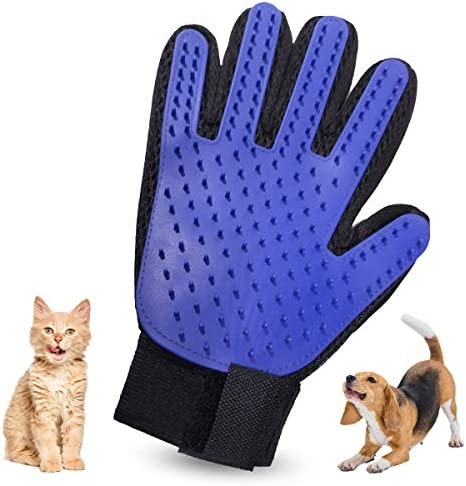 NA Pet Grooming Glove – Efficient Pet Hair Remover Mitt – Deshedding Brush Glove – Soft Silicone Tips for Gentle Massage – For Cats & Dogs with Long & Short Fur (Blue, Right)