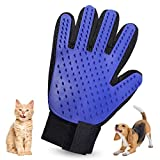 NA Pet Grooming Glove – Efficient Pet Hair Remover Mitt - Deshedding Brush Glove - Soft Silicone Tips for Gentle Massage – For Cats & Dogs with Long & Short Fur (Blue, Right)
