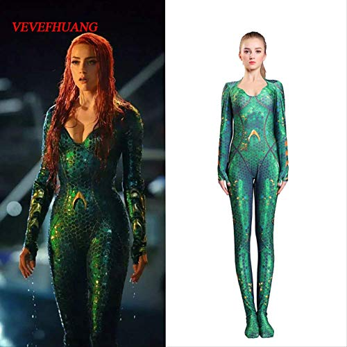 MOOND Neue Frauen Kinder Film Aquaman Mera Queen Cosplay Kostüm Zentai Bodysuit Jumpsuits S Kid