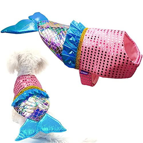 cyeollo Mermaid Dog Costumes Sequin Mermaid Clothes Cosplay for Medium Dogs Party Dressing Up Pet...