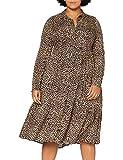 Dorothy Perkins Curve Curve Leopard Print Tie Neck Shirtdress Vestido Informal, marrón Claro, 52 para Mujer
