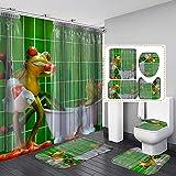 LCXNN Creativo Verde Rana Cortina de Ducha Set 4 Piezas - con Antideslizante Alfombrilla de Baño & Tapa WC Alfombrilla &U Pedestal Alfombra - 12 Gancho,165x180