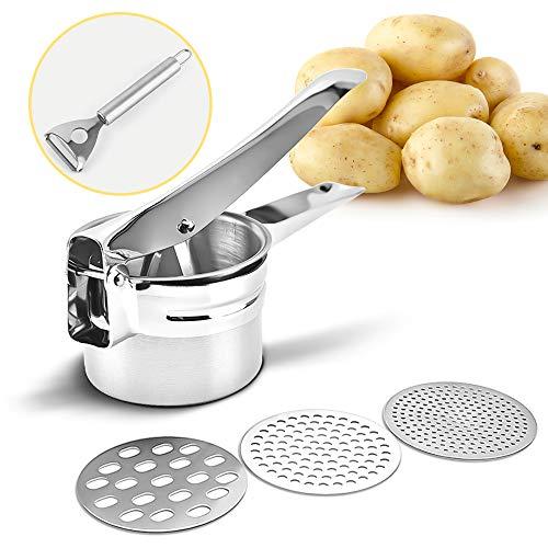chaobai Kartoffelpresse Spätzlepresse aus Edelstahl Multipresse mit 3 Lochscheiben Stainless Steel Kartoffelstampfer für Kartoffelpüree, Obstsäfte, Gemüsebrei Größe 27 x 9,5 x 8,8 cm