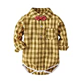Baby Boy Long Sleeve Button Down Shirt Newborn Toddler Boy Girl Cotton Plaid Bow Tie Clothes (Yellow Plaid,...