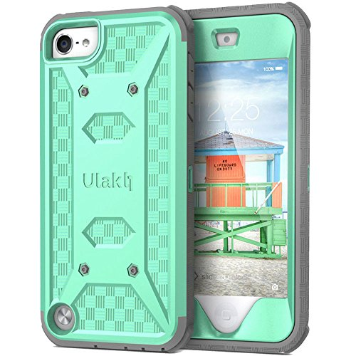 ULAK Case for iPod Touch 7, iPod Touch 6 Case, Knox Armor Dual Layer Hybrid Protective Cover with Belt Clip Holster for iPod Touch 7th/6th/5th Generation (Green)
