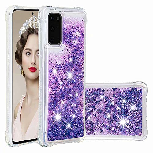 Funda Case para Xiaomi Mi 11 Glitter Teléfono Móvil Funda Funda Resistente a Golpes para Xiaomi Mi 11 Diamond Liquid Cover Bumper TPU Funda para Xiaomi Mi 11 Teléfono Móvil Fundas Morado Oscuro