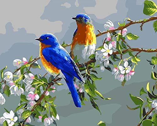Olieverfschilderij digitaal om zelf te maken vogel blauw op bloesemtak olieschilderij handgeschilderd op canvas geschenk decoratie huis muurkunst gepersonaliseerd 40 x 50 cm