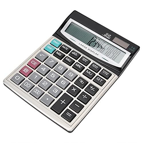 PUSOKEI Calculadora de Escritorio de 16 dígitos con Pantalla LCD Grande, calculadora de Doble Potencia de botón Grande, compatibilidad Universal, Adecuada para Office Home School