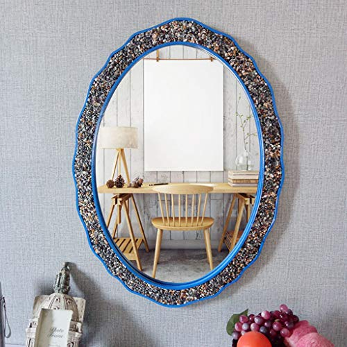 JYXJJKK Espejo De Pared Decorativo Espejo Ovalado de Color de Piedra de Estilo Europeo Espejo Espejo de baño Espejo de baño Retro (Color : D)