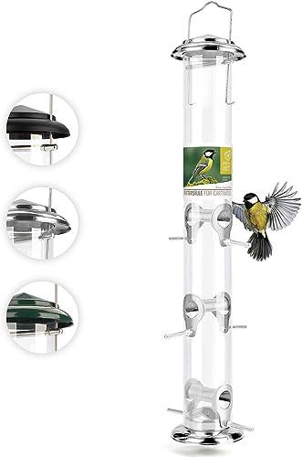 XL Mangeoire Oiseaux Exterieur 52cm - Distributeur Graines Oiseaux, Mangeoire à Oiseaux Distributeur Suspendu Impermé...