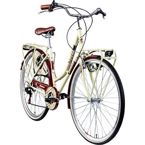 "Galano Trekkingrad 700c Damenfahrrad Citybike Damenrad 28\"" Caledonia Fahrrad (Creme/rot, 48 cm)"