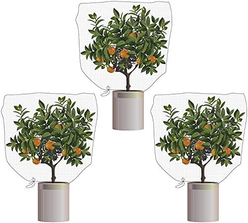 RUMIA Malla de malla con cordón para insectos de 32 x 47 pulgadas, para proteger las plantas y las frutas de las flores de la comida de insectos y aves