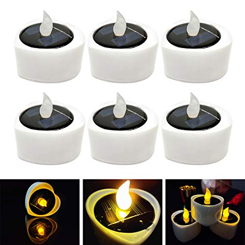 FunPa Solar Candles, 6Pcs Flameless Flickering Candles Waterproof Solar Powered and Battery Operated Led Tea Light Candles for Halloween Garden Festival Yard Bar Wedding Party
