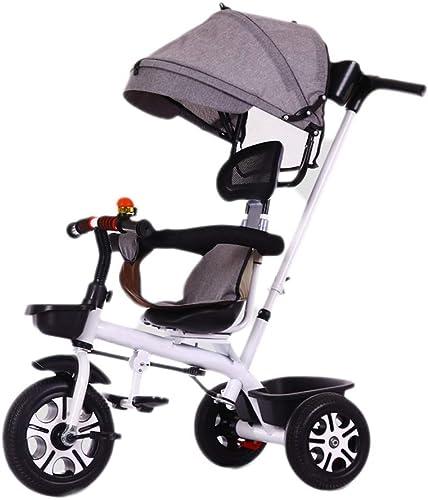 NBgy Dreirad, Verstellbare Handschubstange Kind 3-in-1-Multifunktions-Dreirad Mit Markise, 2-6 Jahre Altes Baby-Au -Dreirad-Schaumrad, 5 Farben, 70x55x46cm