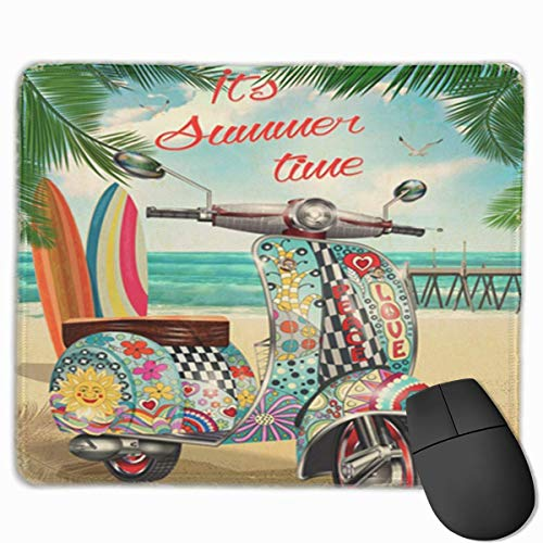 Muiskussen, bureaumuis, muiskussens, muismat strand zomer Hippie vintage scooter fiets helder klassieke kust motor