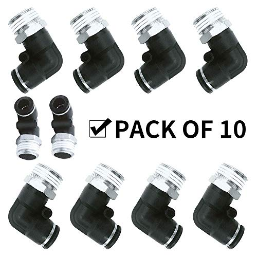 DealMux 10 pezzi BPL Push per collegare raccordi aria Gomito maschio Ø tubo 8 mm x filetto maschio 1/8'