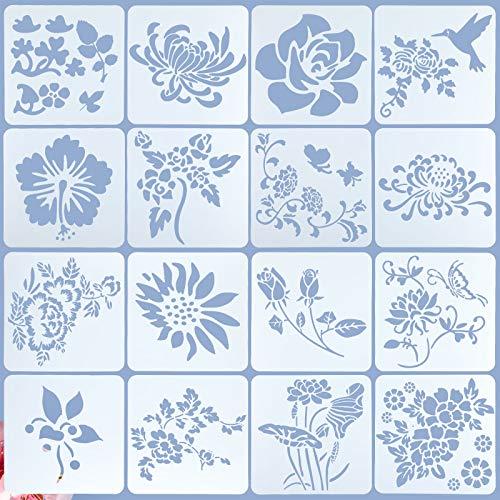 16 Plantillas de Flores Plantilla de Pintura de Girasol Rosa Pájaro Volador Plantilla de Estarcido Primavera Verano Plantilla de Dibujo de Hoja de Flor Reutilizable, 6,3 x 6,3 Pulgadas