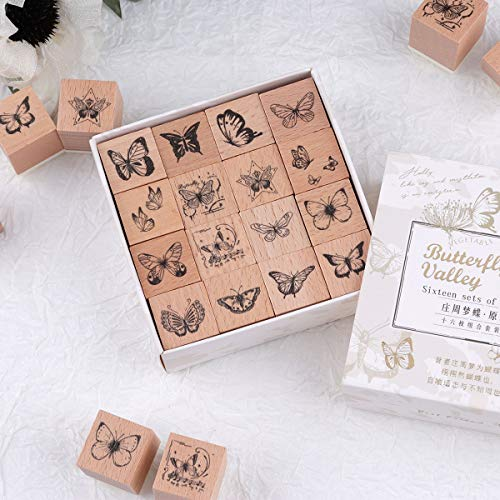 Risypisy 16 Pieces Wooden Rubber Stamp Set, Retro Decorative Stamps, Butterfly Wood Stamps for Scrapbooks, Card Making, Bullet Journals, Envolope, Diary and Tags