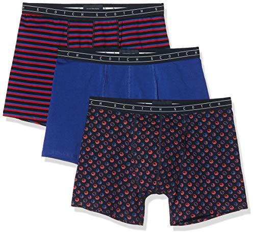 Scotch & Soda Herren Bedruckte und einfarbige 3er-Pack Boxershorts, Mehrfarbig (Combo B 0218), Large (Herstellergröße:L)
