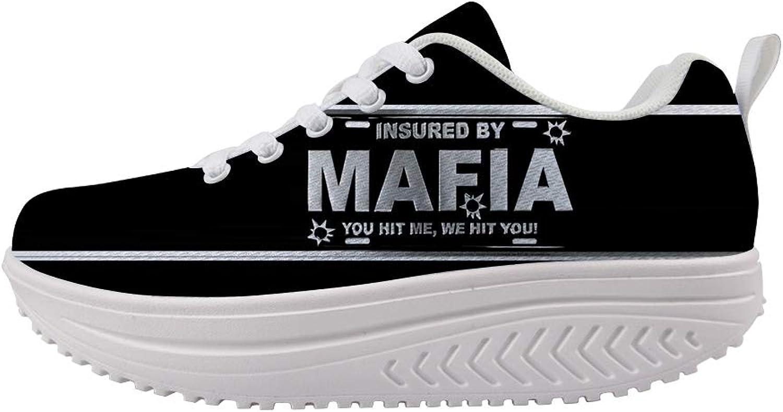 Owaheson Swing Platform Toning Fitness Casual Walking shoes Wedge Sneaker Women Bullet Hole Nameplate Insured by Mafia