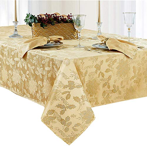 Christmas Carol Damask No Iron Soil Release Holiday Tablecloth, 60 x 102 Inch Oblong, Gold