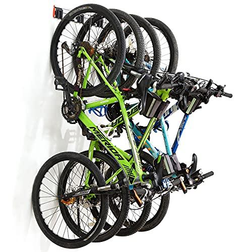 Homeon Wheels Bike Storage Rack, Premium Aluminum Bike Wall Rack with Adjustable Hooks, Holds 4 Bikes, Bike Rack for Garage Holds up to 130 lbs, Effective for Bike Storage