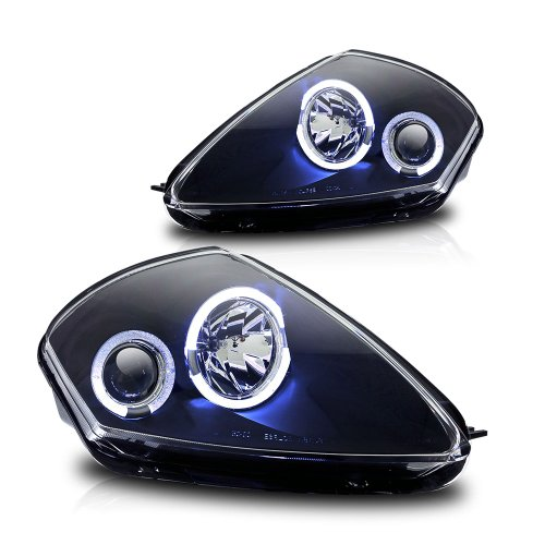 Winjet WJ10-0215-04 Black Housing/Clear Lens Projector Headlight with LED Halo (Mitsubishi Eclipse)