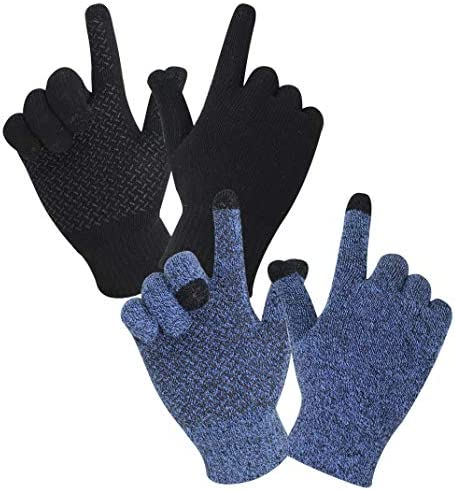 rifix 2 Pairs Winter Knit Gloves Touchscreen Warm Soft Elastic Thickened Cuff Anti Slip Silicone product image