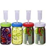Aiboria - Kit de fermentación con 4 boquillas de aire para tarros de conservas con boca ancha, tapa de fermentación para la fabricación de chucrut kimchi, pepinos (vasos no incluidos)