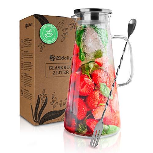 21daily Karaffe 2 Liter - Kristallklare Wasserkaraffe aus hitzebeständigem Borosilikatglas für kalte und heiße Getränke - Glaskaraffe mit Deckel Edelstahl und Ausgießer - Nachhaltig und mundgeblasen