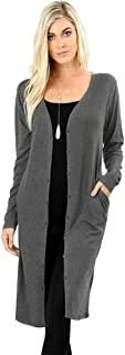 12 Ami Sweater Knit Button-Front Pocket Long Cardigan