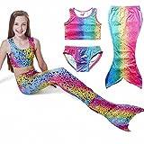 Owone Box Girls 3pcs Swimmable Mermaid Tail Costume Swimwear Princess Bikini Swimsuit 7, Rainbow, 6-7 Years